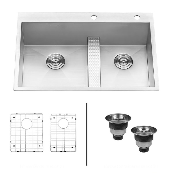 """Ruvati RVH8059 Tirana 33"""" Drop In Double Basin 16 Gauge Stainless Steel Kitchen Sink with 2 Basin Racks and 2 Basket Strainers"""