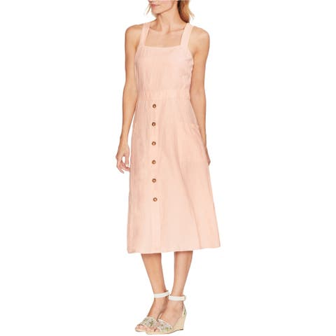 Vince Camuto Womens Button Trim A-line Dress, Pink, Small