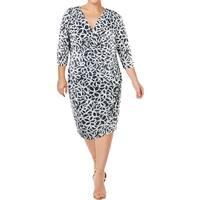 Lauren Ralph Lauren Womens Plus Wrap Dress Ruched Sheath