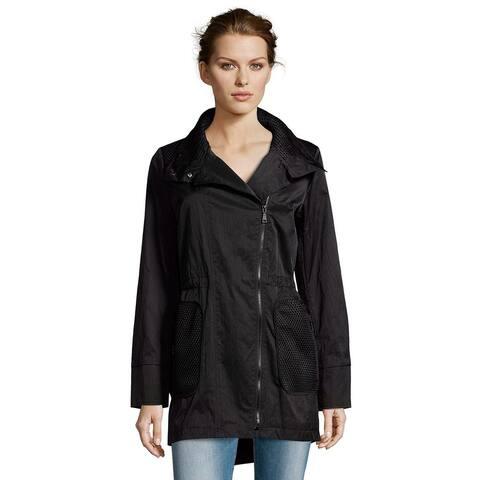T TAHARI Women's Alexa Black Mesh Asymmetrical Zip Anorak Raincoat Jacket (XS)