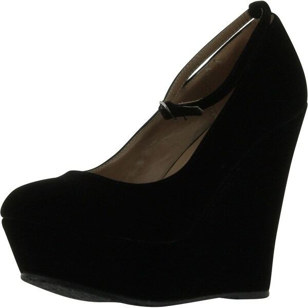 Black Faux Suede Round Toe Ankle Strap Cover Platform Wedge Shoes - premium black suede+