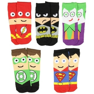 DC Comics Mens Superhero Cartoon Character Socks 5 Pair