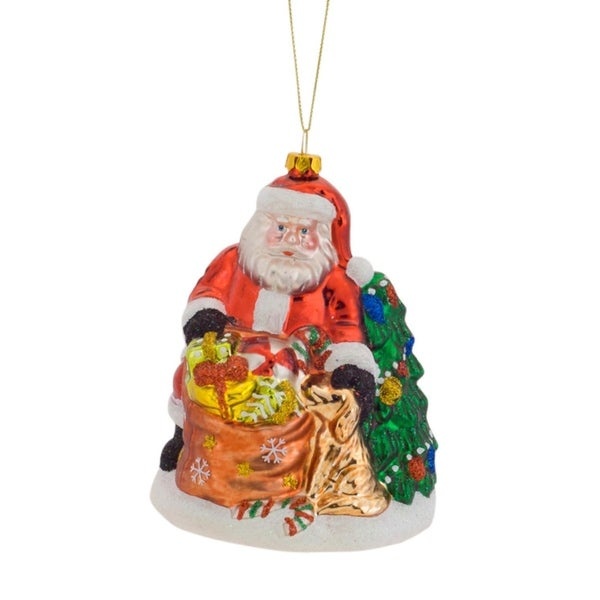 Pack of 6 Santa Claus Petting Dog With Gift Sack and Tree Glass Christmas Ornament