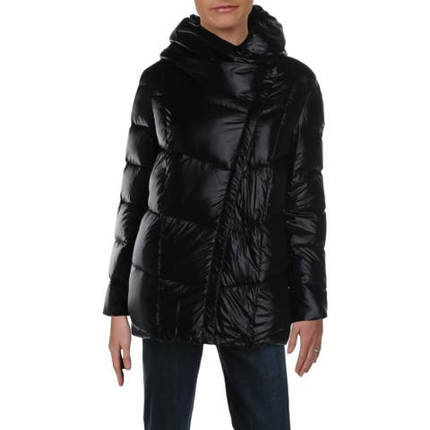 Donna Karan Womens Puffer Coat Down Cold Weather - Black