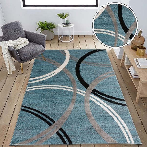 Contemporary Abstract Circles Design Area Rug. Opens flyout.