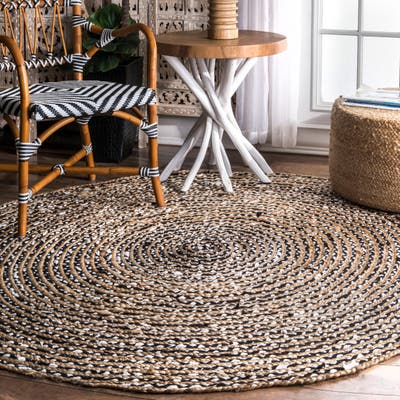 nuLOOM Black Casual Natural Fiber Jute and Cotton Pinstripes Area Rug