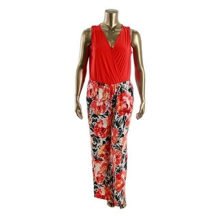 NY Collection Womens Plus Floral Print Sleeveless Jumpsuit