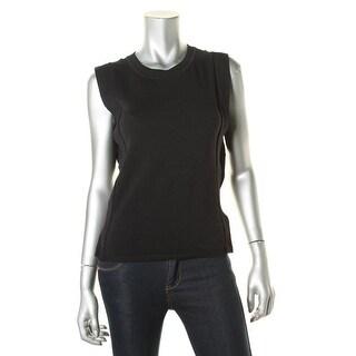 Sunco Womens Patrick Ribbed Trim Crew Neck Tank Top Sweater - t0