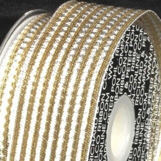 """Shimmering Silver and Gold Metallic Ribbed Wired Craft Ribbon 1.5"""" x 54 Yards"""