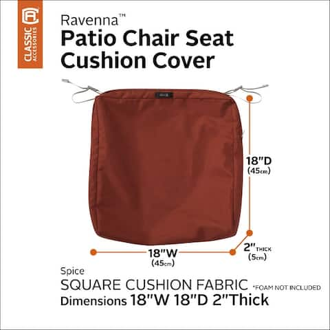 Classic Accessories Ravenna Water-Resistant Patio Chair Seat Cushion Cover, 18 x 18 x 2 Inch