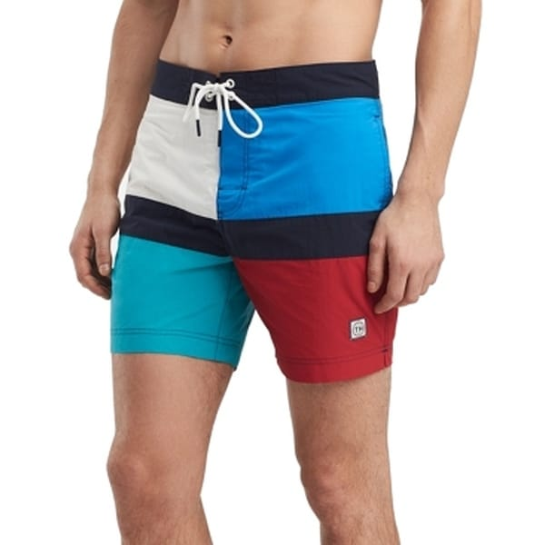 e303be35aadbc Shop Tommy Hilfiger Blue Mens Size Large L Colorblock Swimwear Trunks -  Free Shipping On Orders Over $45 - Overstock - 28285843