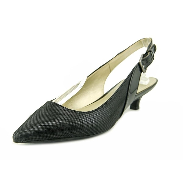 Anne Klein Ece Women Open-Toe Canvas Black Slingback Heel