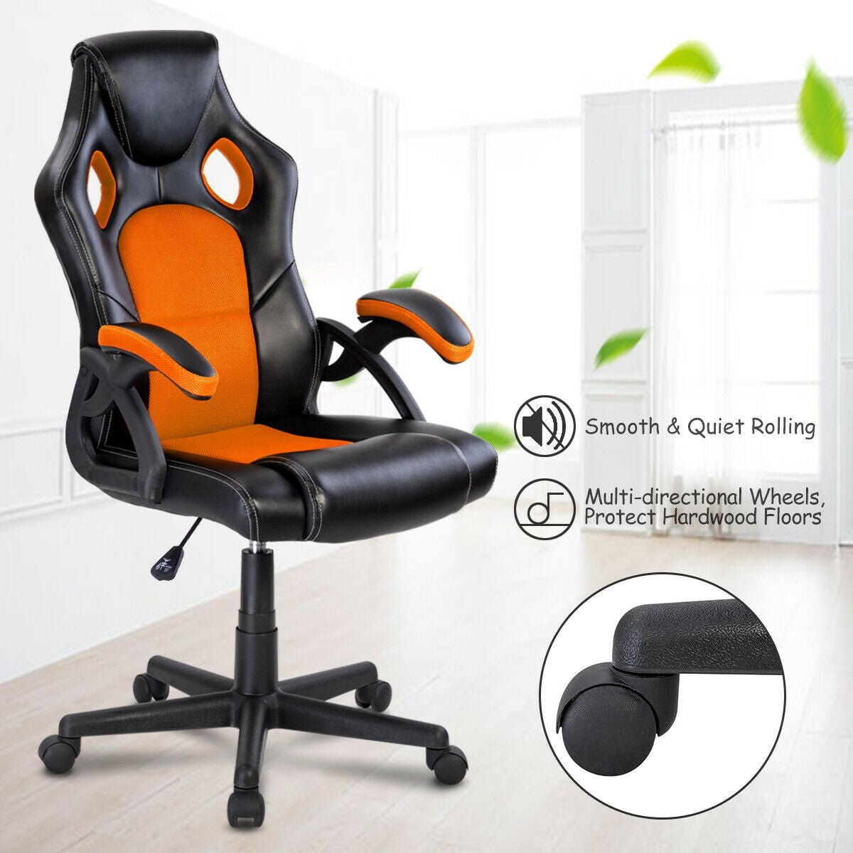 Costway PU Leather Executive Bucket Seat Racing Style Office Chair on blue race car desk chair, retro style office chair, racing computer chair, racing furniture, camaro racing car office chair, antique style office chair, audi racing office chair, gt omega pro racing office chair, sitting in a chair, racing seats, racing chair xbox one, western style office chair, car style office chair, racing style swivel chair,