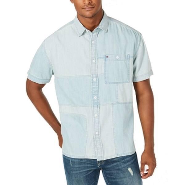Tommy Hilfiger Blue Mens Shirt Size 2xl Denim Patch Work Button Up