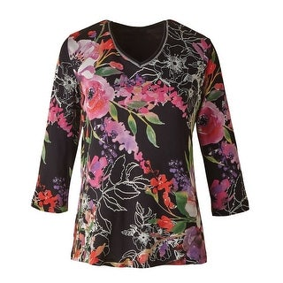 Women's Tunic Top - Evening Sonnet Bright Floral Print on Black