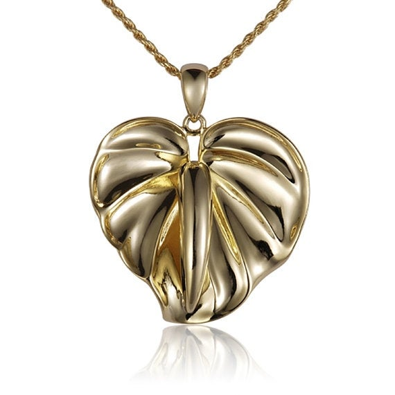 "Anthurium Necklace 14k Yellow Gold Pendant 18"" Chain"
