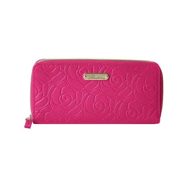 Buxton Womens Rose Garden Clutch Wallet Leather Slim - o/s