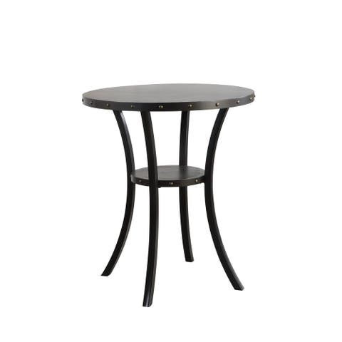 Crispin 36-inch Round Studded Pub Table with Shelf, Smoke Gray, by New Classic Furniture
