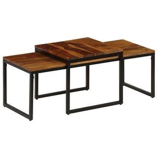 vidaXL Coffee Table Set 2 Pieces Solid Sheesham Wood and Steel