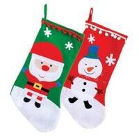 2 Pack: Christmas House Santa & Snowman Stockings with Pom-Pom Trims, 18 Inch