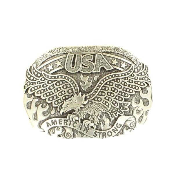 Nocona Western Belt Buckle Men American Strong Eagle Fire Silver - 4 1/2 x 3