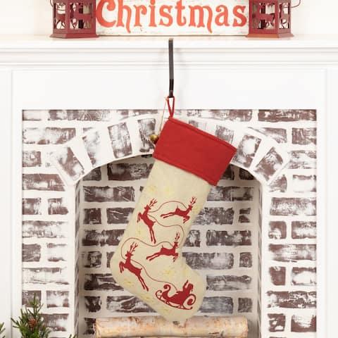 Burlap Santa Stocking 12x20 - Stocking 12x20