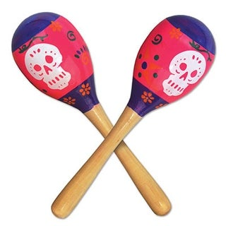 Club Pack of 24 Day of The Dead Maraca Halloween Party Favor Noise Makers 8""