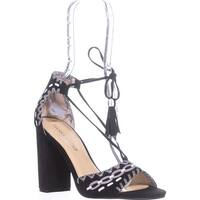 Ivanka Trump Karita Block Heel Lace Up Sandals, Black Multi