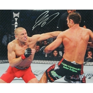 Georges St. Pierre Signed UFC MMA Fighting Action Punch 16x20 Photo