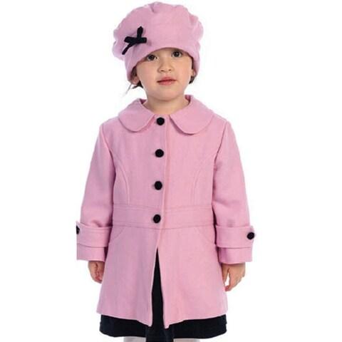 Angels Garment Toddler Little Girls Pink Coat Hat Outerwear Set 2T-8