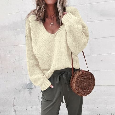 Women's Fashion 7-Color V-Neck Long-Sleeved Sweater