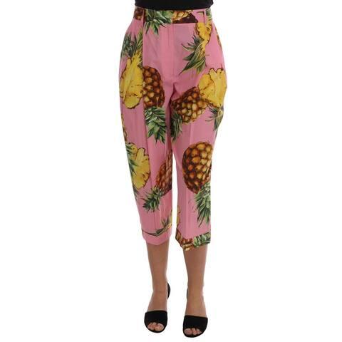 Multicolor Pineapple Print Cotton Capri Men's Pants