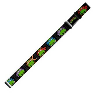 """Classic Tmnt Logo Full Color 1.0"""" Classic Tmnt Expressions Battle Gear Gray Magnetic Web Belt 1.0"""" Wide"""