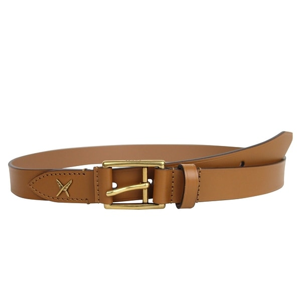 01222b25813 New Gucci Men  x27 s Feather Light Brown Leather Belt Gold Buckle Detail  375182
