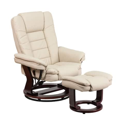 Offex Contemporary Beige Leather Recliner And Ottoman With Swiveling Mahogany Wood Base [OF-BT-7818-BGE-GG]