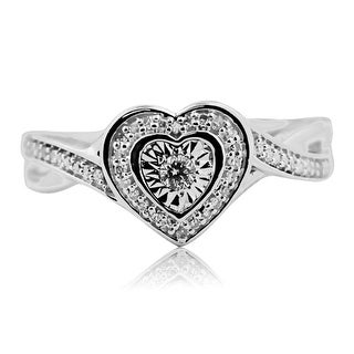 Ladies Natural Diamond Heart Shaped Ring Pave Set Round Diamonds Gift Love Ring By MidwestJewellery - White