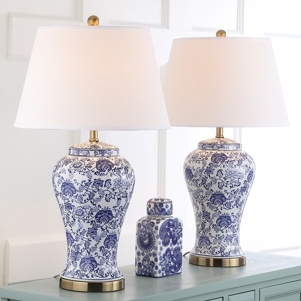 "SAFAVIEH Lighting White/ Blue Blossom Ceramic Table Lamp (Set of 2) - 17"" x 17"" x 29"". Opens flyout."