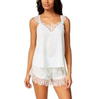 Betsey Johnson Womens White Satin Lace Trim Tank and Shorts Pajama Set Large L