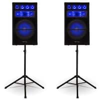 Technical Pro VRTX15L Passive LED Speaker Pair 5000 Watts and Stands DJ PA Home