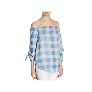 Side Stitch Womens Casual Top Tencel Checkered