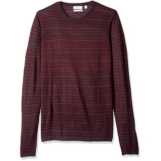 Calvin Klein NEW Red Mens Size Large L Striped Knit Crewneck Sweater