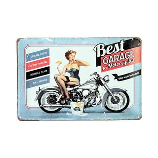 "Pin-Up Girl Best Garage Motorcycles Bike Wash Tag 11.75""L x 7.75""H"