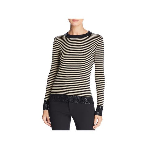 Donna Karan Womens Pullover Sweater Sequined Striped