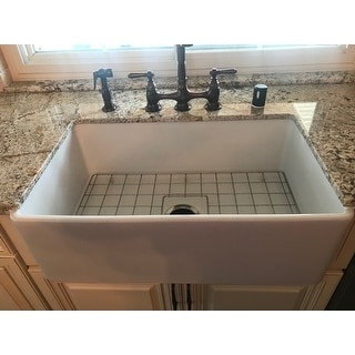 Highpoint Collection 30-inch Single Bowl Fireclay Farmhouse Kitchen Sink with Grid and Drain