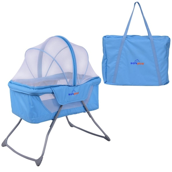 Costway Lightweight Foldable Baby Bassinet Rocking Bed Mosquito Net Carrying Bag Travel - Blue