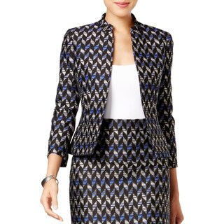 Kasper Womens Petites Jacket Tweed Geometric - 4P