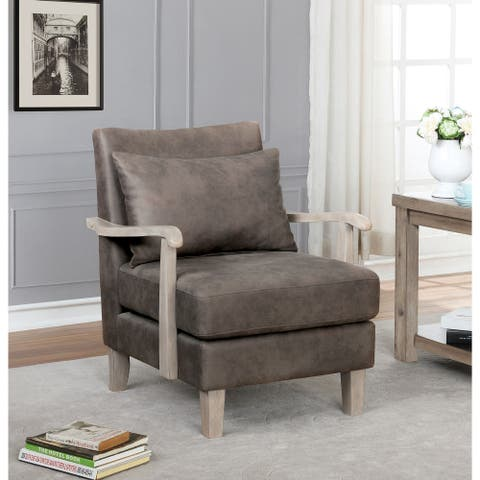 Furniture of America Cova Contemporary Brown Faux Leather Accent Chair