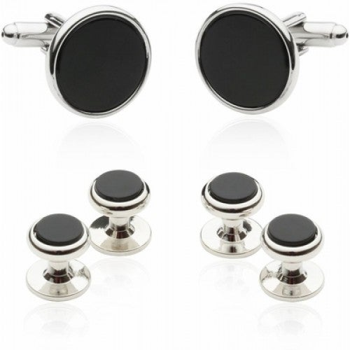 Tuxedo Cufflinks And Studs Black Onyx With Silver Tone