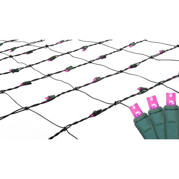 4' x 6' Pinkish Purple LED Net Style Christmas Lights - Green Wire