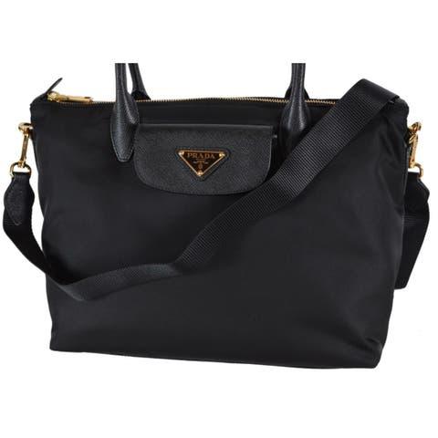 0fbe4a487d Prada 1BA106 Tessuto Borsa A Mano Convertible Zip Top Handbag Purse - Black